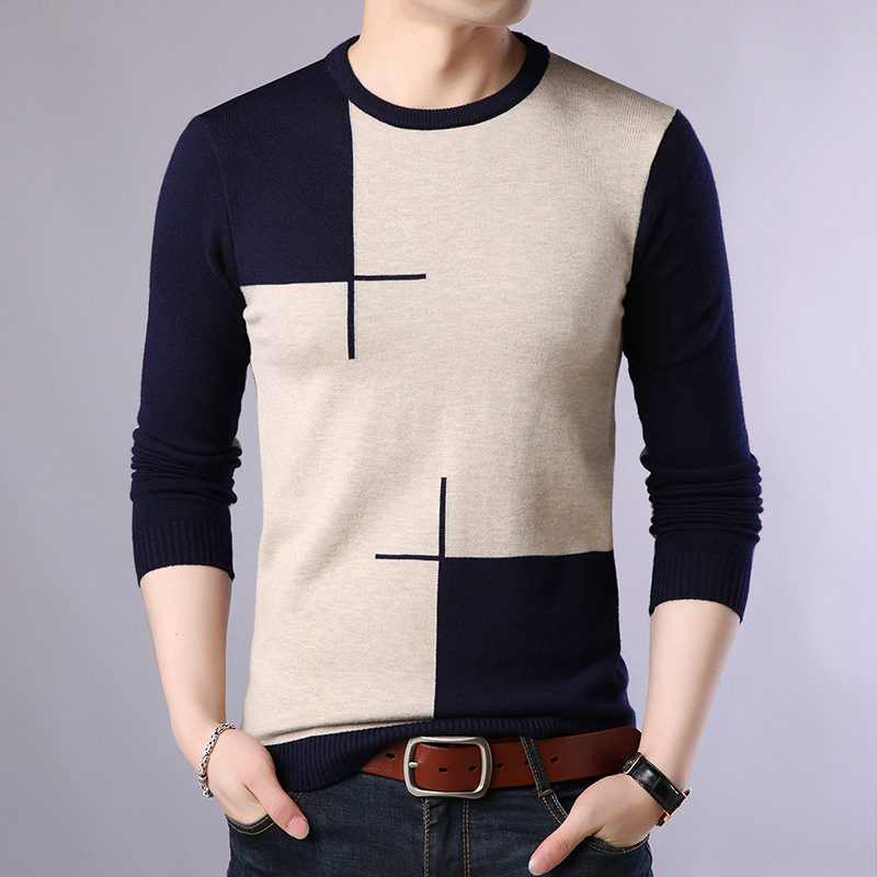2019 Autumn Casual Men's Sweater O-Neck Slim Fit Knittwear Mens Sweaters Pullovers Pullover Men Pull Homme M-3XL