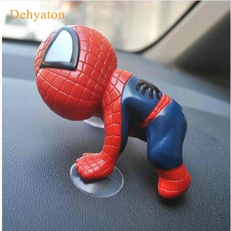 Dehyaton Auto Styling Accessories 16CM Spider ManToy Climbing Spiderman Window Sucker Spider-Man Doll Car Home Inner Decoration