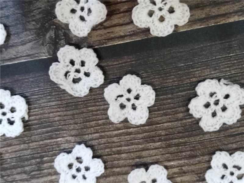 หรูหราสีขาว Handmade โครเชต์ดอกไม้ลูกไม้ Applique เจ้าสาวคอเสื้อ DIY Craft งานแต่งงานชุดอุปกรณ์เย็บผ้า