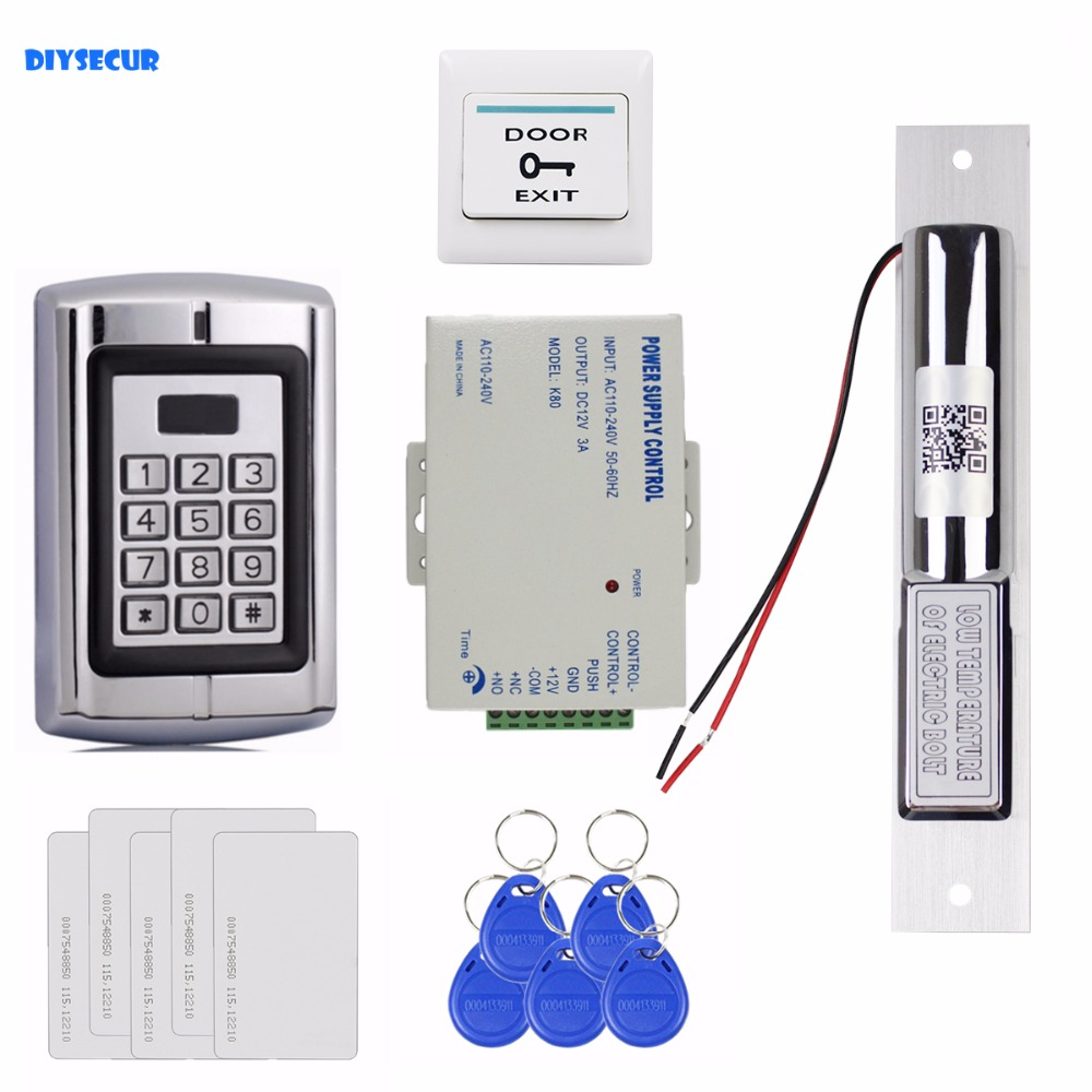 DIYSECUR 125KHz RFID Reader Password Metal Keypad Access Control System Security Kit + Electric Bolt Lock BC2000 diysecur electric bolt lock 125khz rfid password keypad access control system security kit door lock remote control ks158