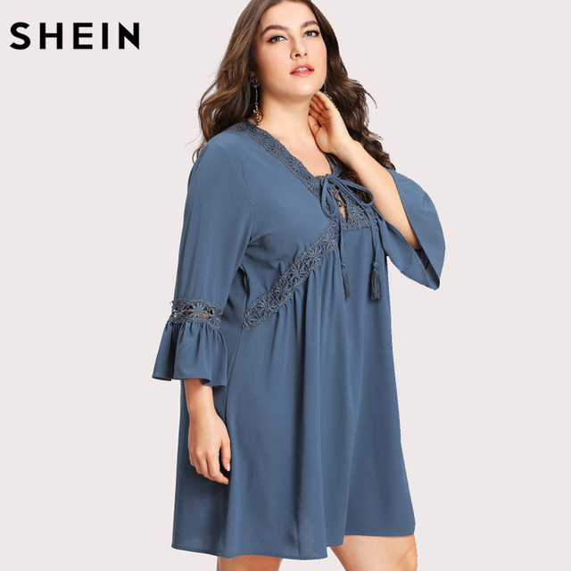 4436ddd870 SHEIN Blue Plus Size Lace Floral Dress V neck Spring Summer Ruffle Fring  Vacation Large Sizes Tasselled Lase Up Short Dress