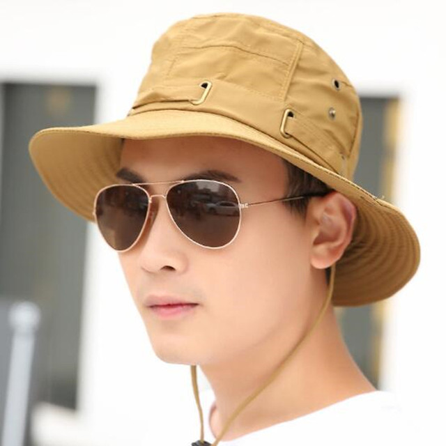 joejerry Fashion Casual Military Bucket Hat Boonie Cap Sun Hats For Men UV  Protection Navy Gray 6e856b37a550
