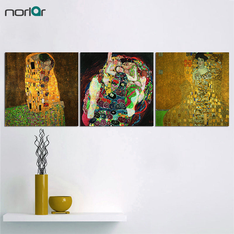 No Frame Artists Gustav Klimt The Kiss Wall Pictures For Living Room Canvas Art Painting Poster Decoracion Wall Art Home Decor