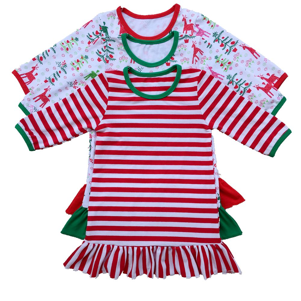 aliexpresscom buy girls christmas nightgown ruffle dress girls christmas pajamas red and white stripe personalized custom initial monogram dress from