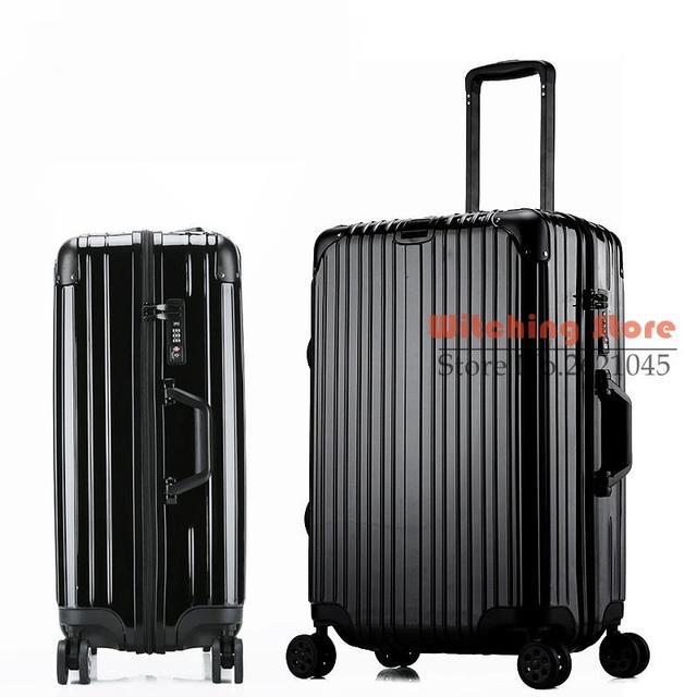 26 INCH  20242629# new rose gold rod box travelling metal bag corner zipper case universal wheel luggage #EC FREE SHIPPING