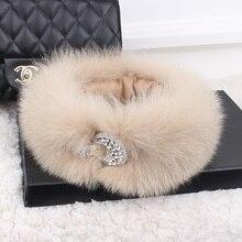 new arrival fox fur crystal hasp decoration neckerchief multi color fox fur scarves creative style winter warm fashion fur hoop