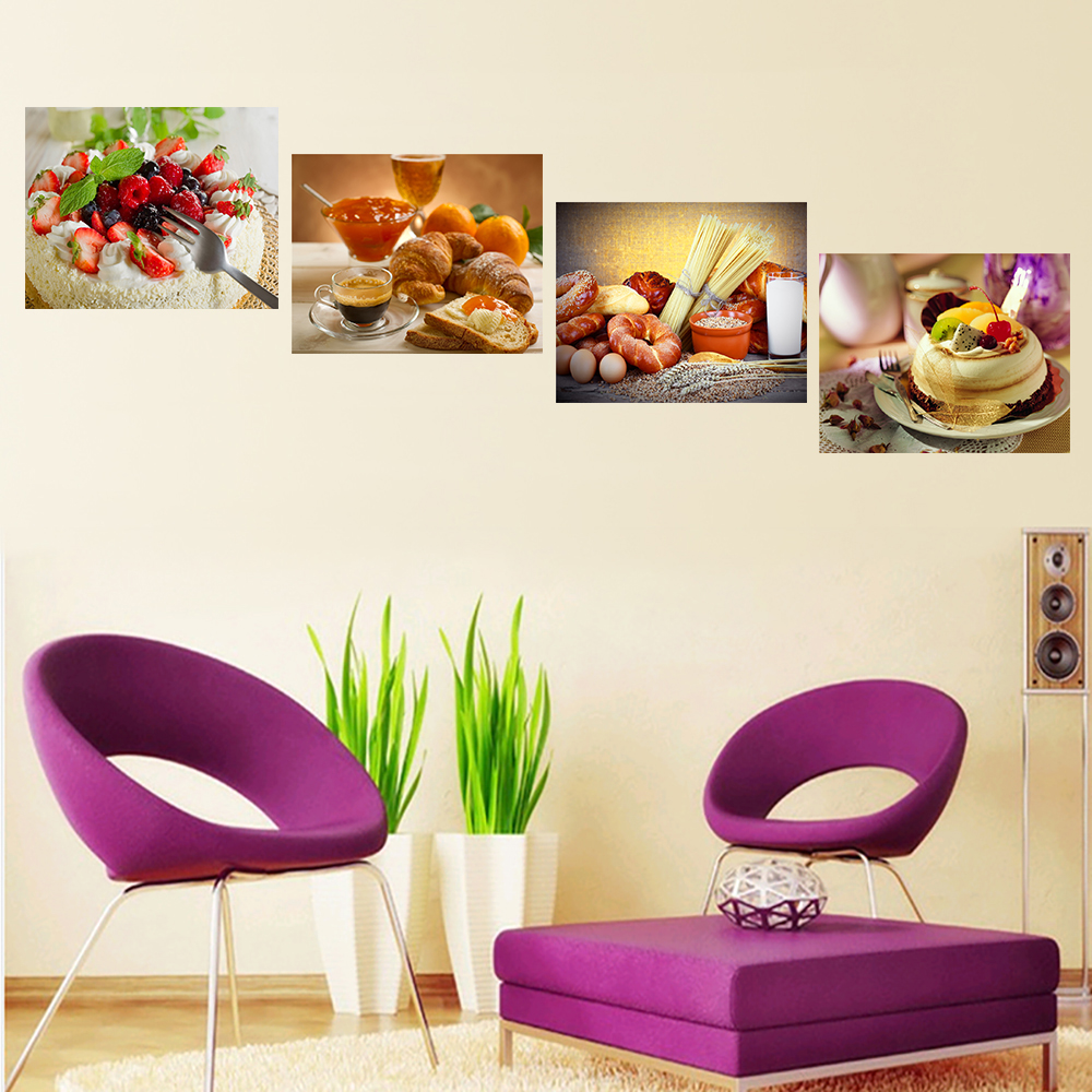 Oil Painting Canvas Print Still Life Sweet Cake Fruit Flower Art Poster Decorative Pictures for Kitchen Room 4 Pieces Unframed