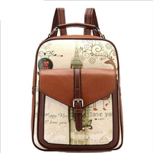 2017 New Arrival PU Leather Backpacks Women's Vintage Landscape Backpack Lady's Fashion School Bag Girls' Travel Bags XA1808C