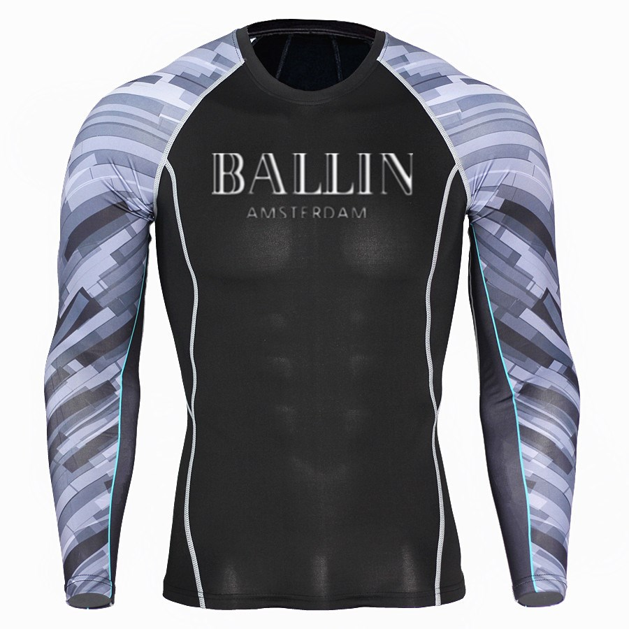 bcf71f2e Ballin Amsterdam Graphic print Men Fitness Long Sleeves T Shirt Mens Skin  Tight Thermal Compression Shirts MMA Crossfit Workout-in T-Shirts from Men's  ...