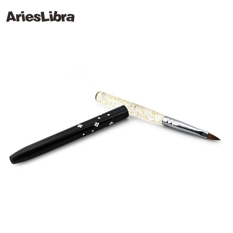 AriesLibra 10 pièces/ensemble 2 # cristal strass poignée noir pur Kolinsky acrylique brosse Sable ongles brosse