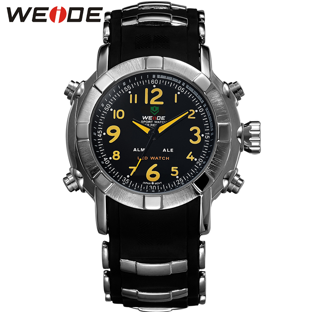 WEIDE Brand Fashion Casual Sport Watches Men Quartz Wristwatches Silicone Waterproof Watch Men Clock Relogio Masculino / WH1106 brand weide fashion casual men watch black silicone strap 3atm waterproof dual display wristwatch relogio masculino sale items