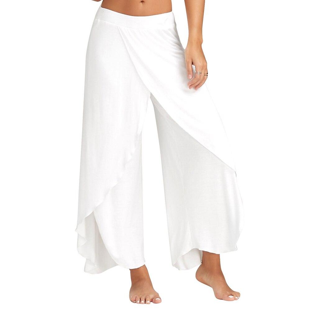 Women   Pant   2018 Summer   Wide     Leg     Pants   Women Casual Trousers Solid Loose White Black Womens   Pants   Mid Elastic Waist Plus Size