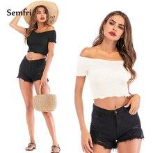 Semfri Sexy Off Shoulder Crop Top 2019 Short Sleeve Solid Color Tank Vest Slash Neck Slim Elastic Woman Fashion Short Streetwear floral slash neck vest
