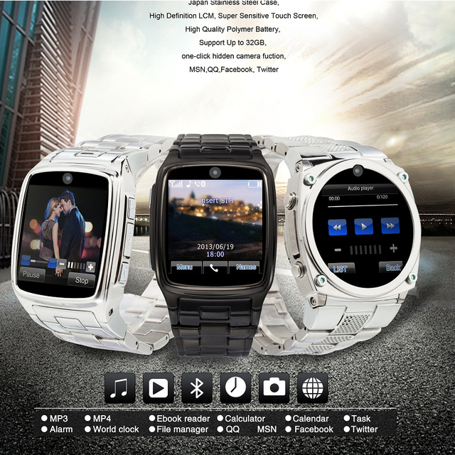 cheap !Stainless Steel man Watch Mobile Phone with sim Touch Screen GSM metal body hand Watch Mobile Phone for ios and android