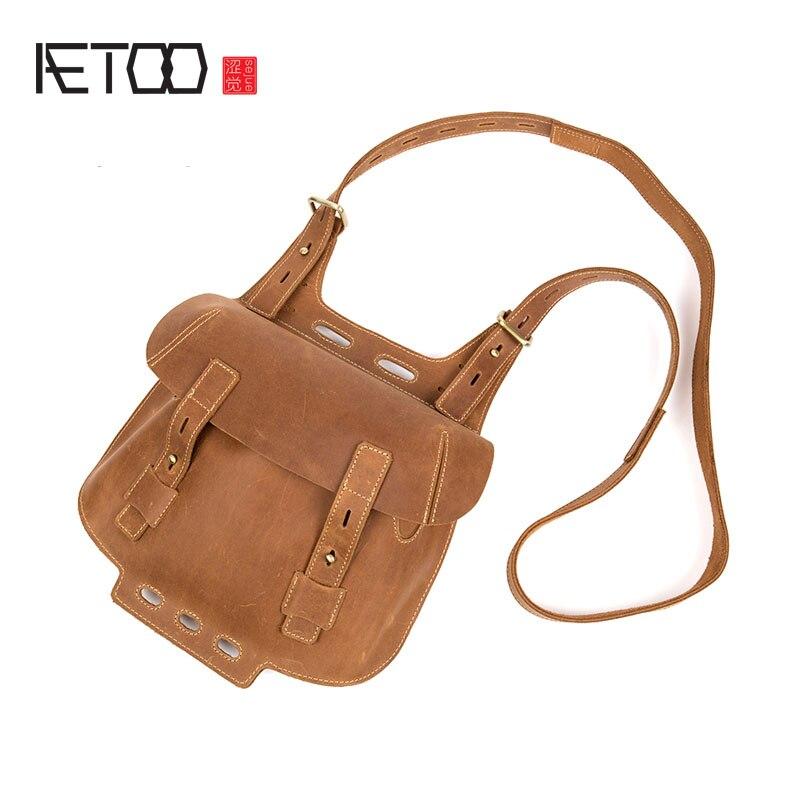 AETOO Pure handmade leather Messenger bag male bag retro mad horse leather shoulder bag handbags leather casual bag