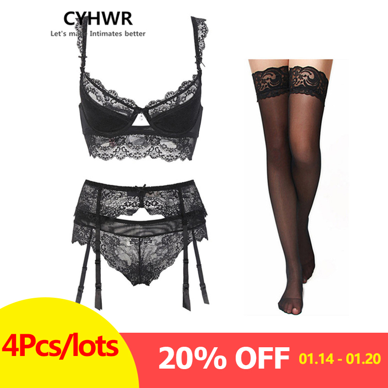 CHYWR sexy lace thin cotton cup breast   bra     set   (  bra  +panty+garter belt +stocking) 4pieces/lots