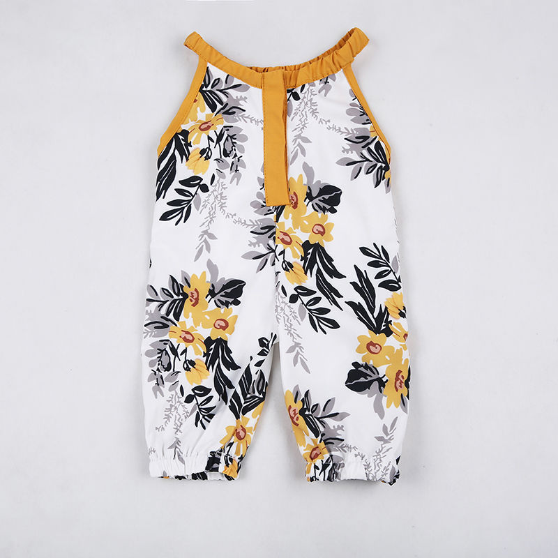 Fashion Toddler Newborn Baby Girls Floral   Rompers   Sleeveless Clothes Long Pants Summer Clothing