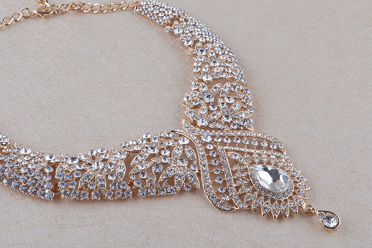 Statement India style Necklace earrings sets Bridal wedding Party Necklace Water Drop Type Golden Plated Crystal Jewelry Sets 21