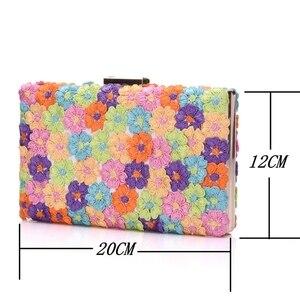 Image 5 - 크리스탈 퀸 여러 가지 빛깔의 꽃 빛나는 여자 샌들 웨딩 신발 일치하는 가방 클러치 14 cm 하이힐 여성 펌프 파티