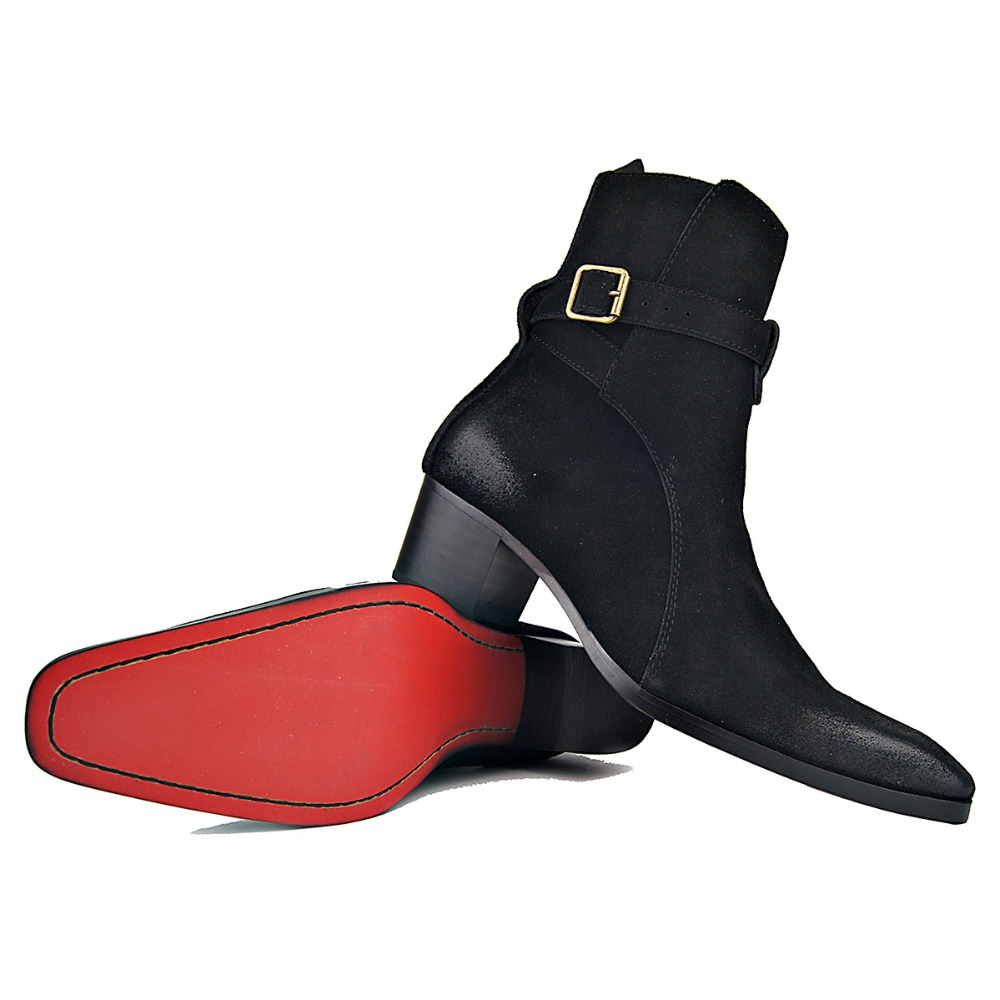 Genuine Cow Leather Suede high heel Men Boots high top Zipper fashion British style fashion men