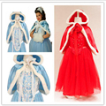 Free shipping! New Girl Ice Snow Queen Dress Children Anna Elsa Hooded Dress Toddler Princess Party Clothes Kids Cosplay Costume