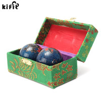 KIFIT 2Pcs Chinese Cloisonne Exercise Stress Ball Hand Wrist Solid Chrome Baoding Ball Health Exercise Therapy