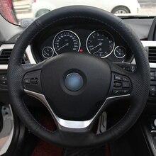 Hand sewing custom Black Leather Car Steering Wheel Cover for BMW F30 316i 320i 328i