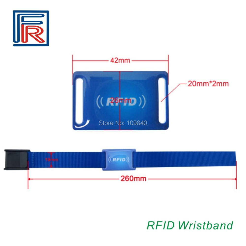 Special design RFID Nylon strap wristband bracelet with EM 125KHZ Read-only waterproof epoxy tag 100pcs/lot survival nylon bracelet brown