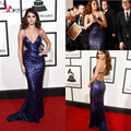 2016 Selena Gomez 58th Grammys Awards Celebrity Dress Stunning Purple Sequins Cutaway Sides Sexy Back Red Carpet Gowns Spaghetti