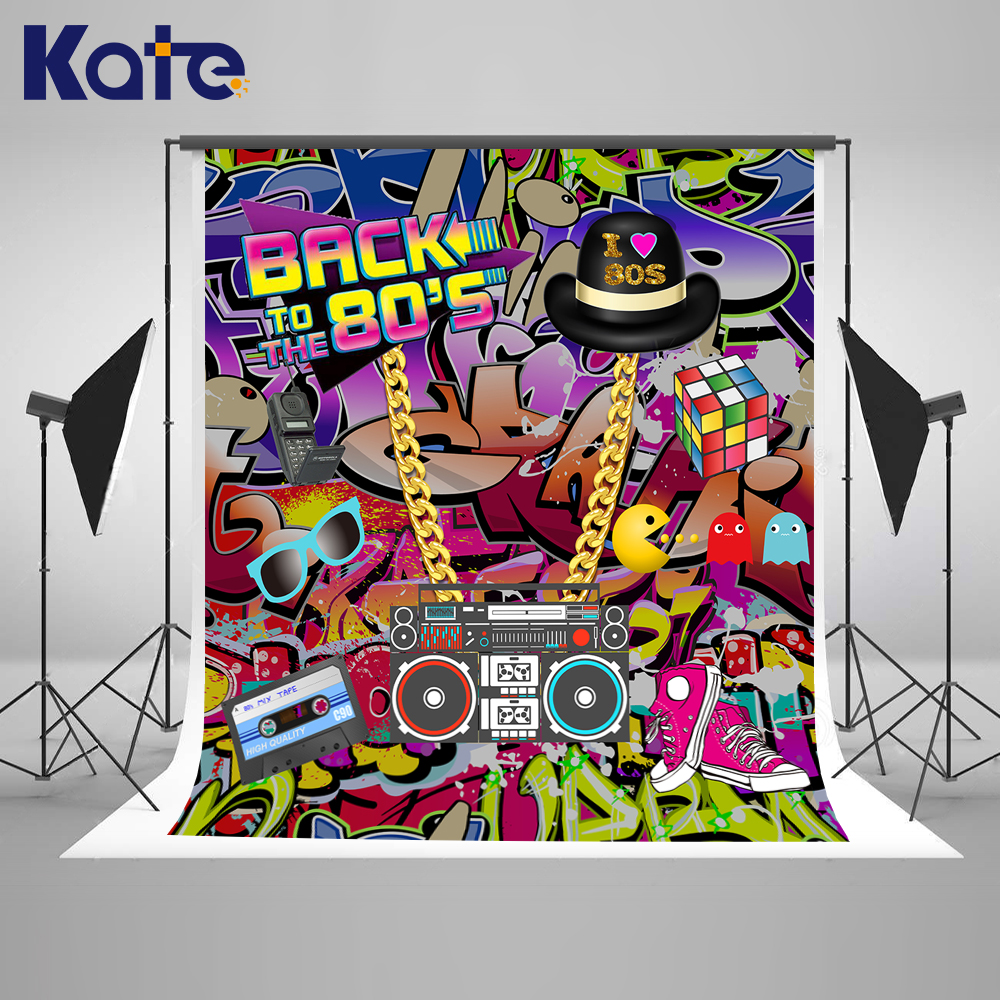 Kate Graffiti Wall Birthday Photo Background 10ft Back To 80S' Hip Pop Background For Photos Custom Photoshoot Background kate photo background scenery