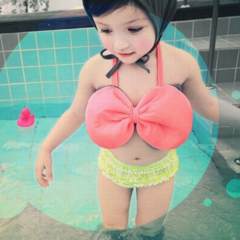 Cute baby little girls rain bow Fringe string Bikini swim bathing suit for kid high waist Swimwear sea infantils HW356