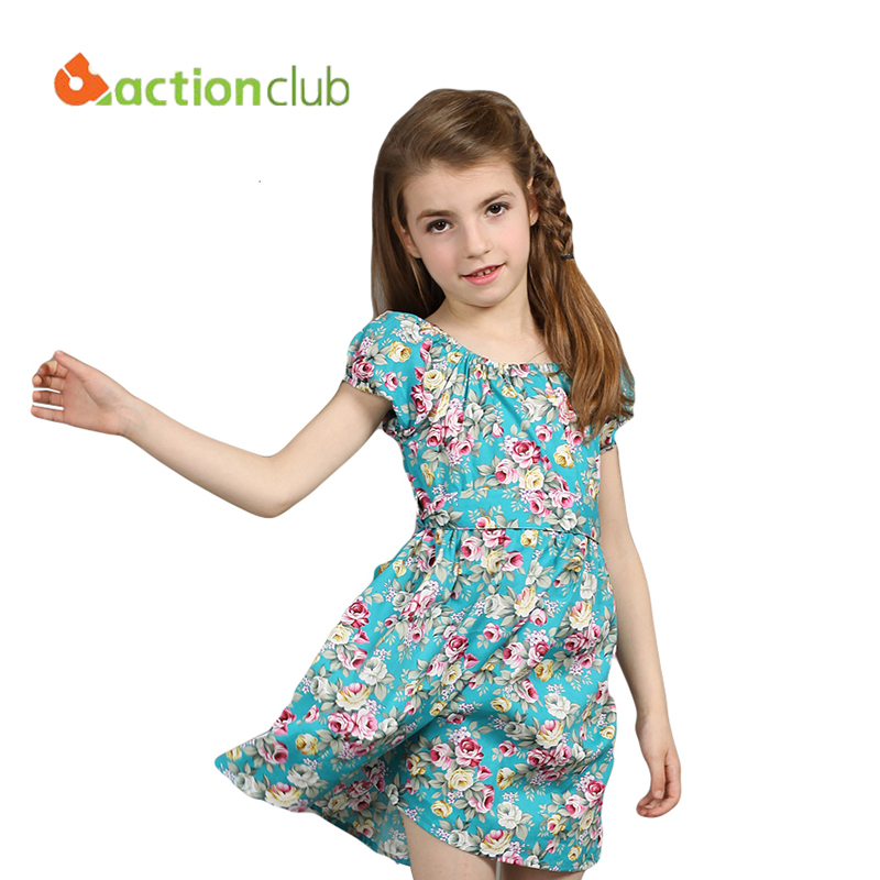 Actionclub European style 4-14T dress children spring dresses cotton print flower dress for girl children sleeveless dresses
