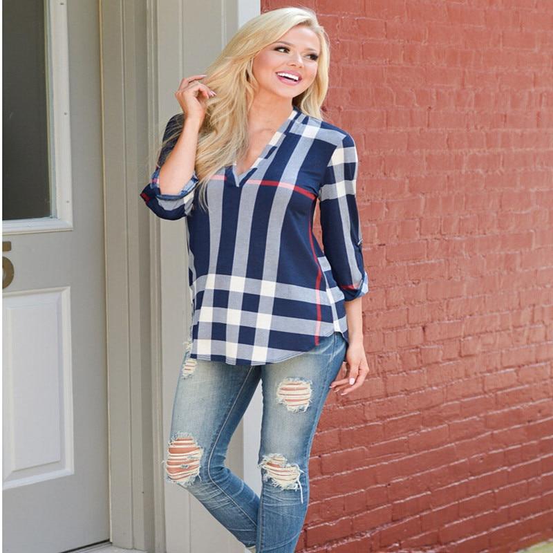 2018 summer haute couture sexy top casual shirt fashion plaid trend printing slim Vestidos Ms. T-shirt