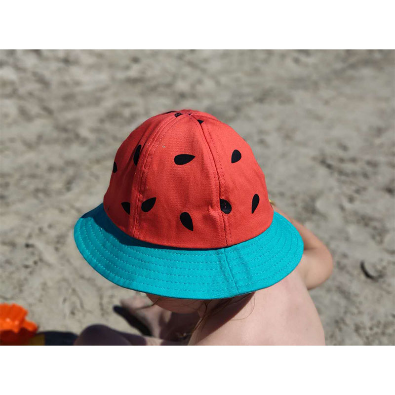 Printed Watermelon Mom and Kids Bucket Hat Outdoor Sports Hip Hop Cap Summer Beach Fishing Sun Panama Child Cotton Flat Hats