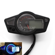Motorcycle Black ABS + LCD Speedometer Digital Odometer Speedometer Tachometer For 2&4 Cylinders 1x sensor cable 2x magnet for motorcycle digital atv odometer speedometer tachometer