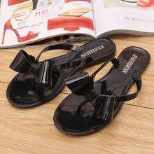 Новые летние прозрачные сандалии пикантные повседневные женские туфли с бантом на плоской подошве с цветочным паттерном женские пляжные шлепанцы женские домашние туфли
