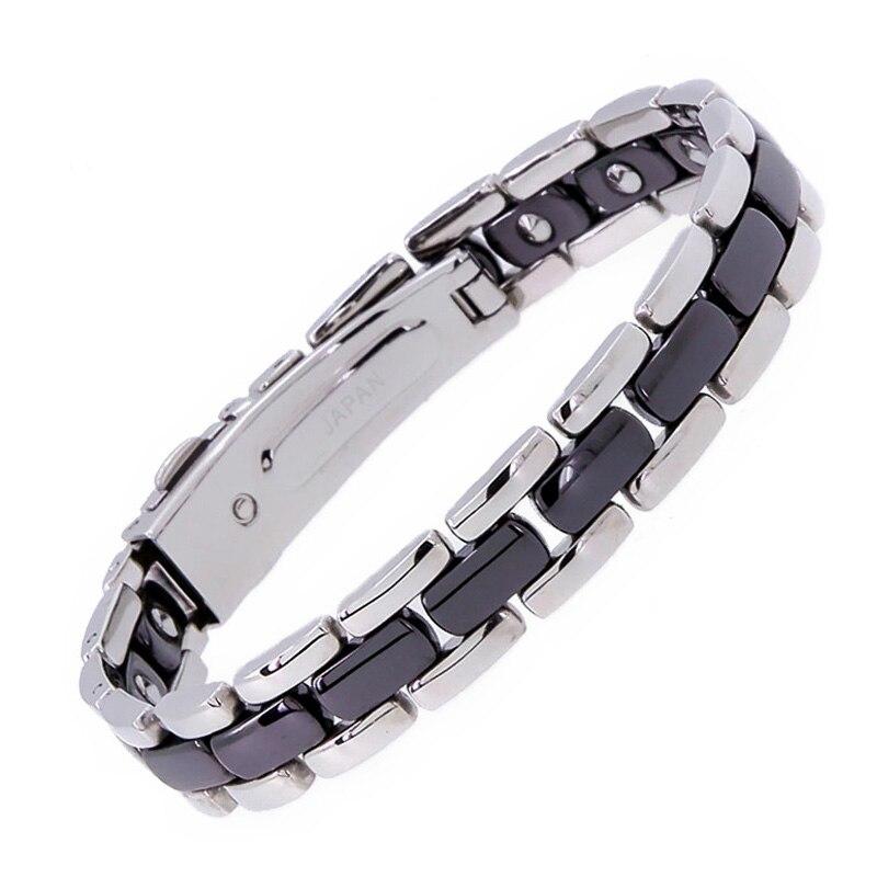 2016 Nouveau Style Noir Creamic Plein Noir Magnétique Germanium Santé Guérison Bracelet Pour Hommes Faits À La Main En Acier Inoxydable Bracelets