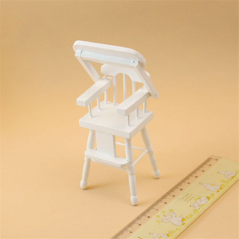 1:12 dollhouse furniture toy for dolls white wooden miniature baby room Crib chair cute pretend play kids toys girls gifts