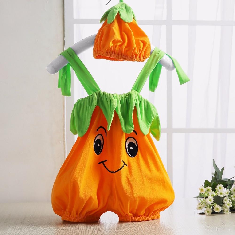 2016 Halloween Baby   Romper   Pumpkin Persimmon Modeling Cute Baby Costume Sleeveless Newborn Baby Boy Girl Jumpsuit Baby Clothes
