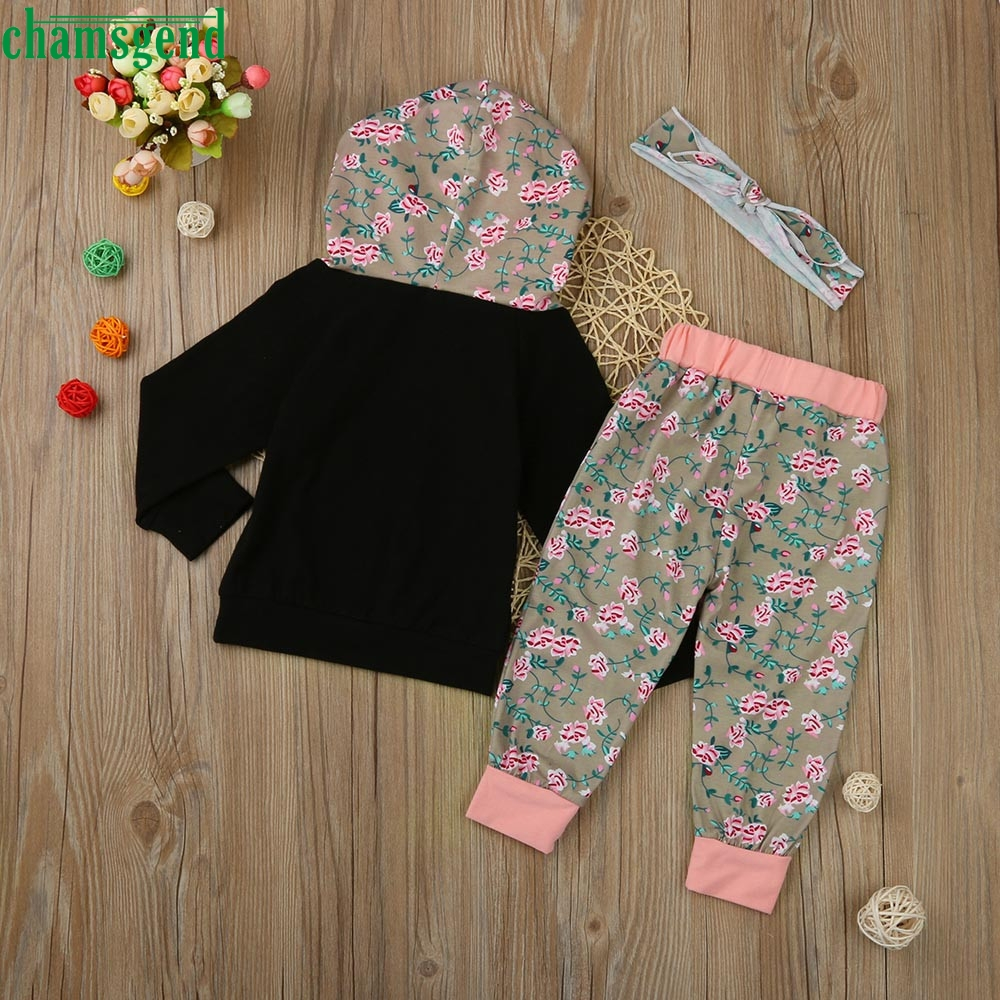 CHAMSGEND Black Toddler Infant Baby Girl Boy Clothes Set Floral Hooded sweater Tops+Pants Outfits jul28 P30