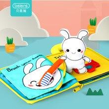 Beiens 3D детская мягкая ткань книги Животные и автомобиль детские игрушки Монтессори для малышей интеллект развитие образования игрушки подарки