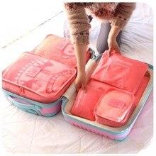 6 в 1 Путешествия использовать Чемодан хранения сумки водонепроницаемый багажа сортировки мешки 6 шт. за комплект для ткань/нижнее белье /косметический 10 видов цветов