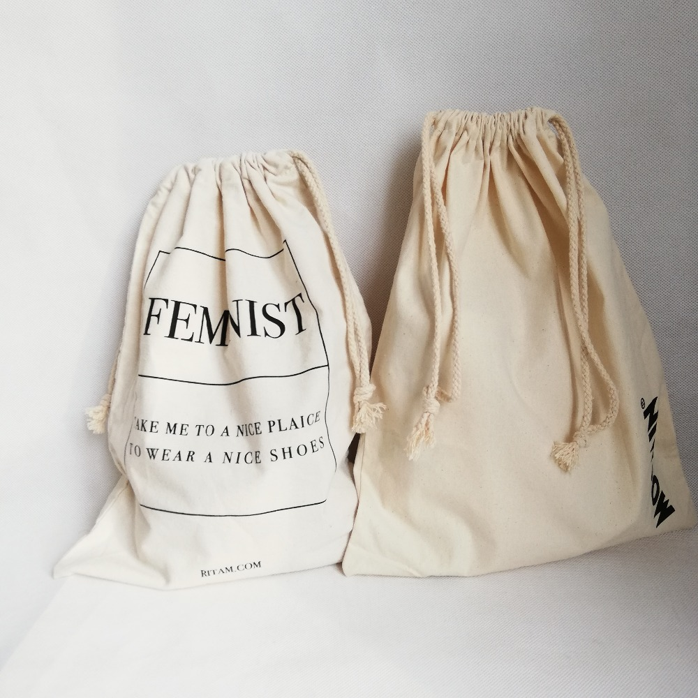 Wholesale 500pcs lot Custom 100% Cheap Organic Cotton Bags Cotton  Drawstring Bag Custom Logo Promotional for Tea or Coffee Bean a550991a4781