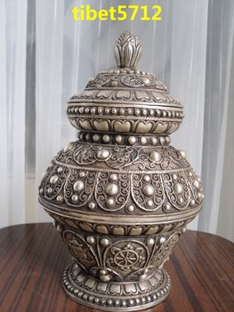 23 cm tall Tibetan Nepal Bronze coated silver tibet Ksitigarbha treasure symbol pot bottle Decoration real Tibetan Silver Brass
