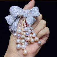 natural fresh water pearl tassels brooch pins 925 sterling silver bowknot fine women jewelry romantic cute free shipping