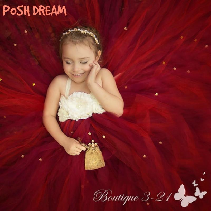 POSH DREAM Cranberry Flower Girl Dress for Wedding Party Burgundy Beige Flower Kids Tulle Tutu Dresses Floral Kids Girls Clothes