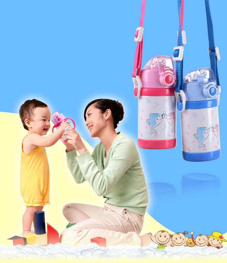 280360ml cartoon Vacuum stainless steel water bottle cup Baby Thermos Mugs Child Thermal Drink Travel Cups leakproof HJ38 (10)
