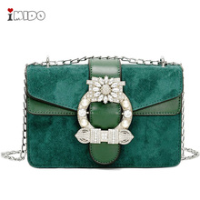 цена на Women's Suede Leather Crossbody Bag Jewel Buckle Decoration Handbag Ladies Small Chain Shoulder Bag Green Black Messenger Purse