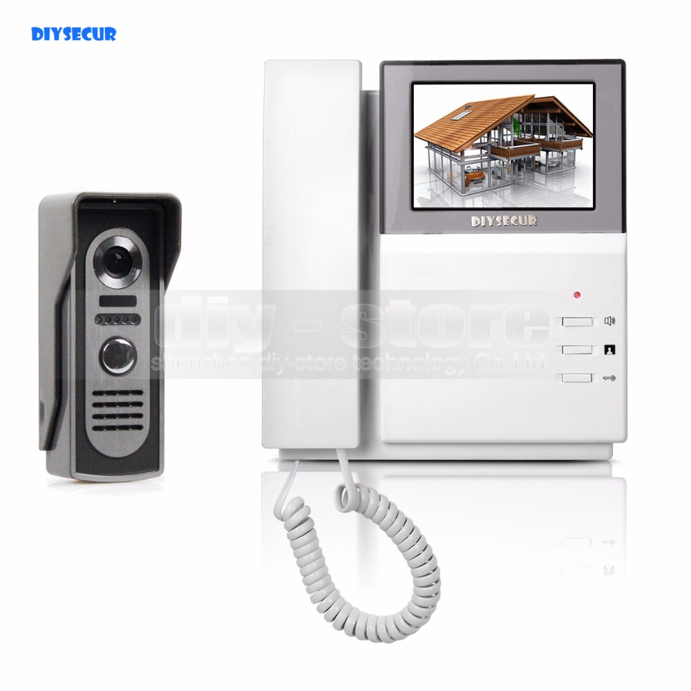 DIYSECUR Video Door Phone Video Intercom Doorbell 4.3inch HD Indoor Monitor + 600 TVLine IR Night Vision Outdoor Camera