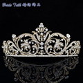 Chic Showy Golden Rhinestone crystal Flower Tiara Crown For Women Party accessories Jewelry XBY158 Free Shipping